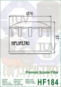Масляный фильтр HIFLO HF184 (Adiva, Aprilia, Gilera, Malaguti, Peugeot, Piaggio)