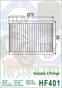 Масляный фильтр HIFLO HF401 (Benelli, Bimota, Honda, Kawasaki, Moto Guzzi, Yamaha)